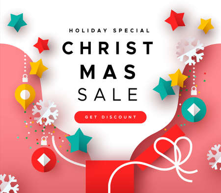 Illustration pour Christmas sale template, colorful xmas gift box with paper cut holiday decoration for special season web discount. - image libre de droit