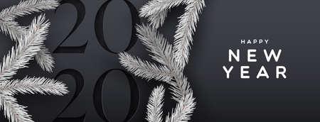 Ilustración de Happy new year 2020 web banner illustration of elegant black background with paper cut calendar number and 3d pine tree decoration. - Imagen libre de derechos