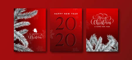 Ilustración de Happy new year 2020 greeting card set of elegant black background with paper cut number and 3d pine tree decoration. - Imagen libre de derechos
