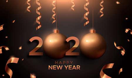 Ilustración de Happy New Year card, red copper 2020 bauble ornament sign. Bronze number typography background for party invitation or seasons greeting. - Imagen libre de derechos