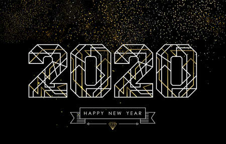 Illustration pour Happy New Year greeting card design in art deco outline style, gold and white 2020 sign with hipster label. Ideal for poster, holiday campaign or web. - image libre de droit