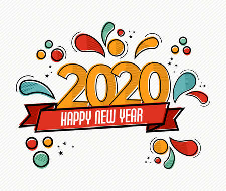 Illustration for Happy New Year 2020 pop art greeting card illustration of colorful calendar date number with funny comic style decoration. - Royalty Free Image