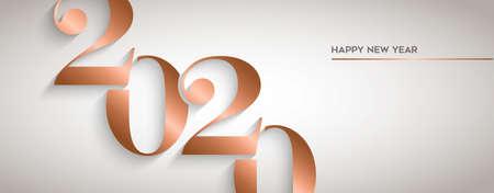 Ilustración de Happy New Year holiday greeting card. Luxury copper calendar number design for party invitation or 2020 years eve event. - Imagen libre de derechos