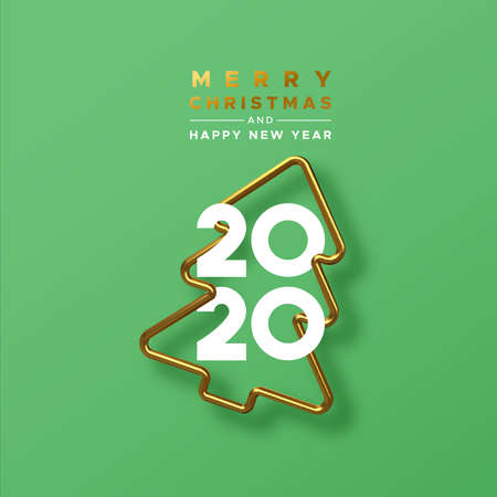 Illustration pour Merry Christmas Happy New Year 2020 greeting card of realistic 3d gold pine tree frame on festive green background with calendar date numbers for holiday party invitation. - image libre de droit