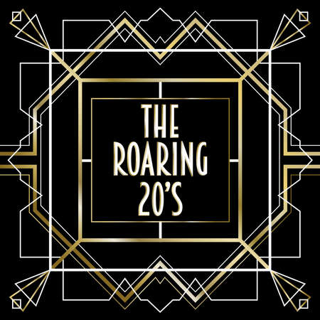 Illustration pour The roaring 20s abstract background frame in vintage art deco style. Gold and black retro design with traditional geometric line decoration, text quote, ornate border. - image libre de droit