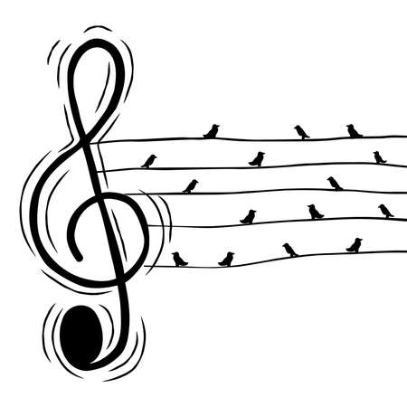 Illustration pour Music treble clef note with birds in wire illustration for musical event or nature sound concept. Hand drawn cartoon on isolated background. - image libre de droit