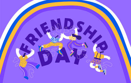 Ilustración de Friendship Day greeting card illustration, diverse friend group doing high five together in modern flat cartoon style. Friends characters celebration for special holiday event. - Imagen libre de derechos
