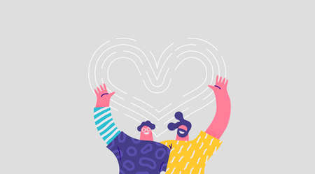 Ilustración de Two happy men hugging together and smiling with heart shape love symbol. Isolated friend cartoon character illustration for best friends relationship, brothers or couple concept. - Imagen libre de derechos