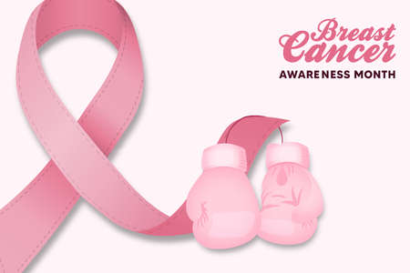 Illustration pour Breast Cancer awareness month greeting card illustration. Pink silk ribbon with boxing gloves for disease survivor and women fight concept. - image libre de droit