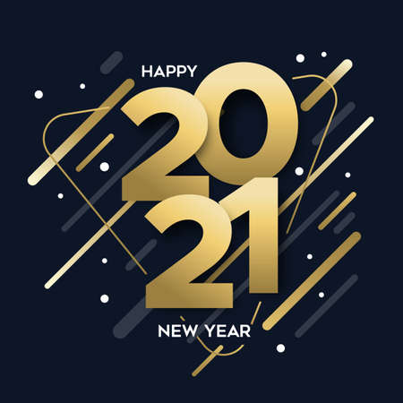 Illustration pour Happy New Year 2021 gold luxury greeting card illustration. Calendar date number sign with modern abstract shapes design, trendy golden party invitation or greetings template. - image libre de droit