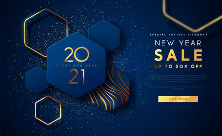 Illustration pour New Year 2021 sale discount web template illustration, luxury 3d geometric shape background with gold abstract shapes on blue backdrop for holiday business promotion. - image libre de droit