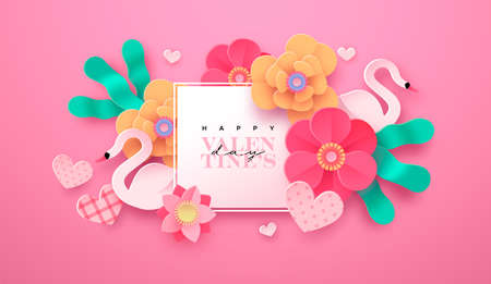 Ilustración de Happy Valentine's Day floral greeting card illustration in realistic 3d papercut style. Paper craft flowers, heart shape and swan birds. Romantic February 14 holiday event design. - Imagen libre de derechos