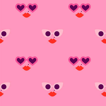 Ilustración de Heart shape sunglasses woman face cartoon seamless pattern. Valentine's day fashion, romantic summer background for holiday print or love concept. - Imagen libre de derechos