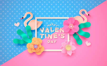 Ilustración de Happy Valentine's day papercut greeting card illustration. Cute spring flowers in 3d paper craft style with swan birds and pink heart shape for february 14 love holiday. - Imagen libre de derechos