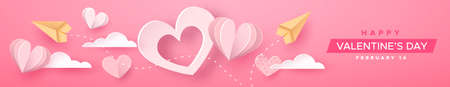 Ilustración de Happy Valentine's Day papercut web banner illustration. Pink heart decoration in realistic 3d paper craft style with plans and text quote. Romantic February 14 holiday event design. - Imagen libre de derechos