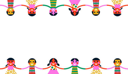 Ilustración de Colorful diverse children friend group holding hands on empty white background. Kid friendship concept in vintage geometric folk art style. - Imagen libre de derechos