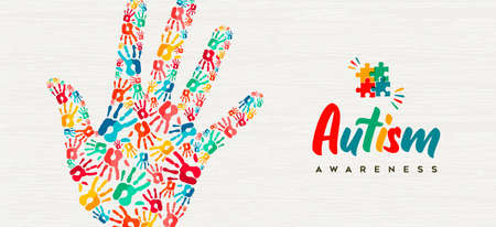 Illustration for Autism Awareness Day web banner illustration of colorful diverse children hand print together. Autistic children learning ability support concept, kid friend group design. - Royalty Free Image