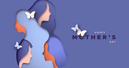Ilustración de Happy Mother's Day greeting card illustration of 3D paper cut woman faces together with butterfly for special mom gift. - Imagen libre de derechos