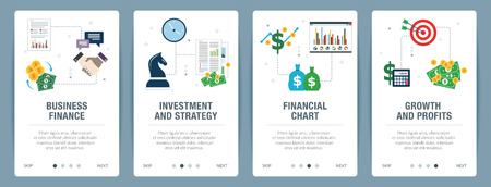 Illustration pour Business finance, investment and strategy, financial chart, growth and profits. Internet website banner concept with icon set. Flat design vector illustration. - image libre de droit