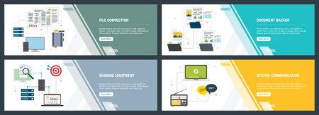 Illustration for Vector set of vertical web banners with file connection, document backup, sharing equipment and system communication. Vector banner template for website and mobile app development with icon set. - Royalty Free Image