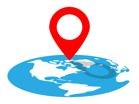 Vector Illustration Of A Location Pin Remarking A Destination On Globe