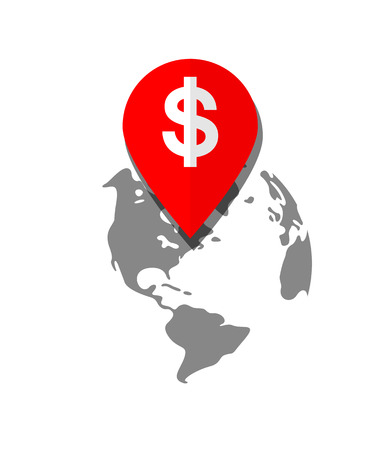 Location Pin. Icon Representing a Profitable Place on the Globe