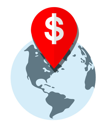 Profit Location. Location Pin Icon Representing a Profitable Place on the Globe