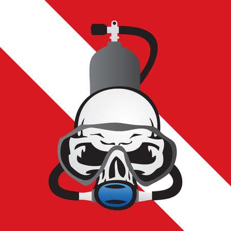 Skull Scuba Diving Logo Vector