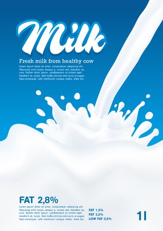 Pouring Milk Splash, Milk wave, blue background, vector