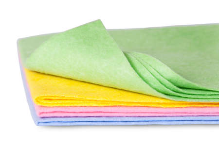 Multicolored cleaning cloths one folded front view isolated on white background