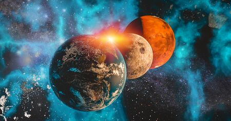 space travel the solar system Earth, Moon and Mars planet concept over galactic background Earth, Moon and Mars and Milky Way solar system planets astronomy concept 3d rendering