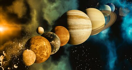 the solar system planet concept over galactic background and Milky Way solar system Mercury, Earth and Moon, Venus, Mars, Jupiter, Saturn, Uranus, Neptune, planets astronomy concept 3d rendering