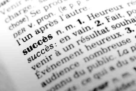 Formula succes highlighted in dictionary with selective focus and blurred background