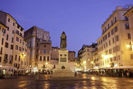 Blue hour Campo dei Fiori with statue statue of Giordano Bruno, Rome, Italy