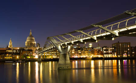 Photo for Cityscape of London at the blue hour with Saint Paul cathedral, England - Royalty Free Image