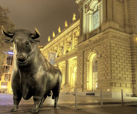 Bull sculpture at night, Stock exchange, Frankfurt, Germany