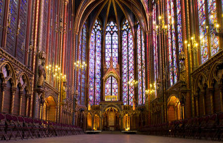 Illuminated interior of the Sainte Chapelle, Paris, France
