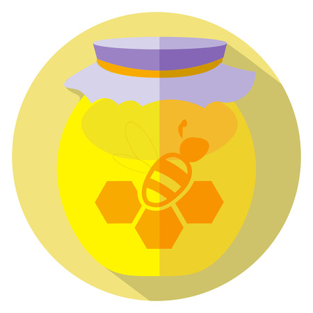 Flat design of honey gar icon. Vector illustration.