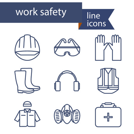 Illustration pour Set of line icons for safety work. Vector illustration. - image libre de droit