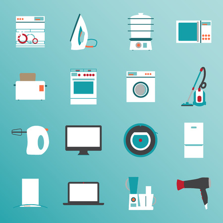 Set flat design icons of home appliances
