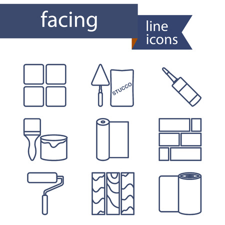 Set of line icons for DIY, finishing materials. Vector illustration.