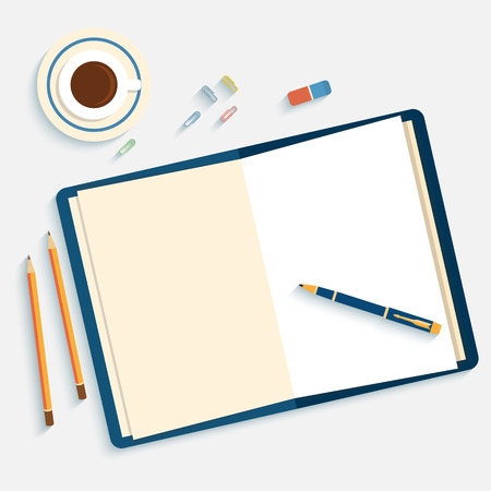 Illustration pour Flat design mockup per office workspace with open book and objects for creative workplace isolated on white background witn long shadow. - image libre de droit