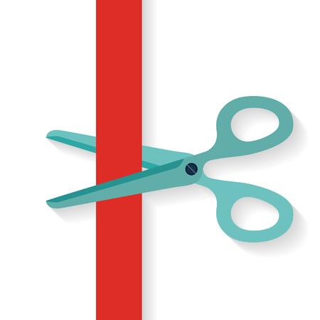 Illustration pour Flat design icon scissors cutting red vertical ribbon. - image libre de droit
