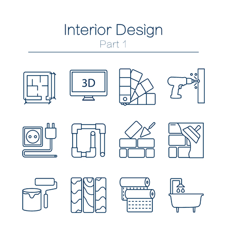 Illustration pour Vector set of modern flat line icons for home improvement website includes objects for finishing works, renovation and building elements . Interior design icons isolated on  white. - image libre de droit