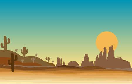 Illustration pour western scene in desert with cactus - image libre de droit