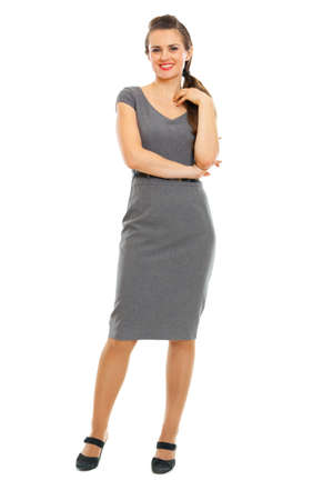Full length portrait of smiling female employee
