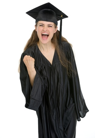 Smiling graduation student woman showing yes gesture