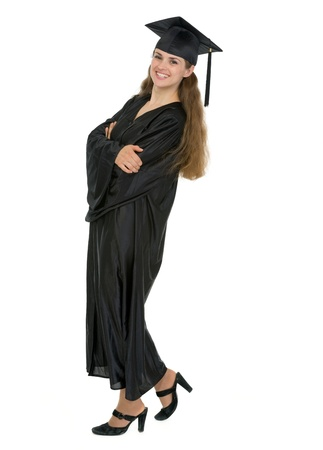 Full length portrait of happy graduation student woman
