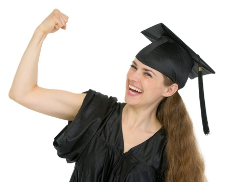 Graduation student woman showing biceps