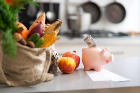 Closeup on money in piggy bank and purchases from local market on table